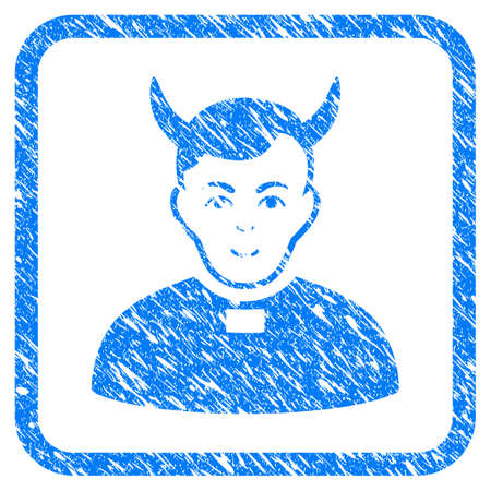 Devil Priest rubber seal stamp imitation. Icon vector symbol with grunge design and dust texture inside rounded square frame. Scratched blue sign on a white background.