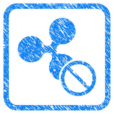 Imitación de sello de goma de rizo prohibido Símbolo de vector icono con diseño grunge y textura sucia en cuadrado redondeado. Imitación de sello azul rayado sobre un fondo blanco.