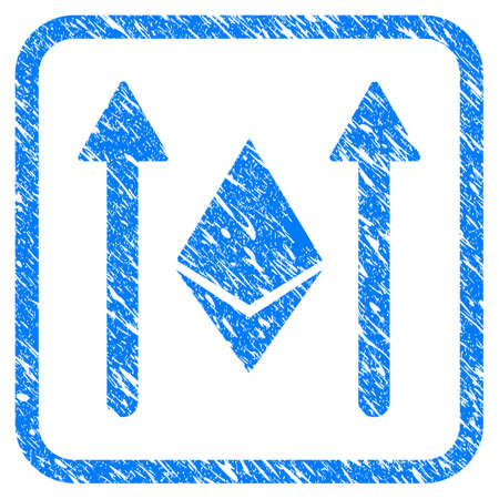 Ethereum Crystal Send Arrows rubber seal stamp imitation. Icon vector symbol with grunge design and corrosion texture inside rounded frame. Scratched blue stamp imitation on a white background. Ilustrace