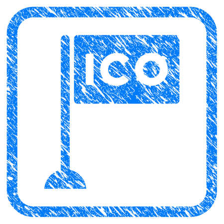 ICO Rectangle Flag rubber seal stamp watermark. Icon vector symbol with grunge design and corrosion texture inside rounded square. Scratched blue stamp imitation on a white background. Illustration