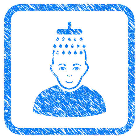 Head Shower rubber seal stamp imitation. Icon vector symbol with grunge design and dust texture in rounded frame. Scratched blue sticker on a white background. Vectores
