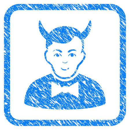 Devil rubber seal stamp watermark. Icon vector symbol with grunge design and dirty texture inside rounded squared frame. Scratched blue sticker on a white background.