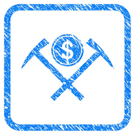 Dollar Mining Hammers rubber seal stamp watermark. Icon vector symbol with grunge design and dust texture in rounded frame. Scratched blue emblem on a white background. Illustration