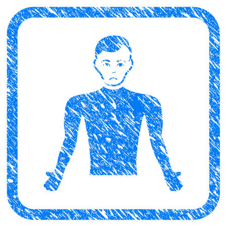 Guy Body rubber seal stamp watermark. Icon vector symbol with grunge design and unclean texture in rounded frame. Scratched blue sign on a white background.