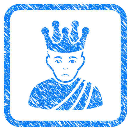 Emperor rubber seal stamp imitation. Icon vector symbol with grunge design and dirty texture in rounded squared frame. Scratched blue stamp imitation on a white background. Illustration