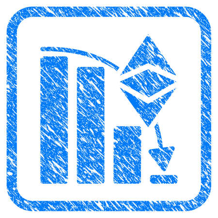 Ethereum Classic Falling Chart rubber seal stamp imitation. Icon vector symbol with grunge design and dirty texture in rounded square frame.