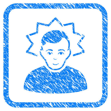 Inventor rubber seal stamp watermark. Icon vector symbol with grunge design and dirty texture in rounded square. Scratched blue stamp imitation on a white background. Illustration