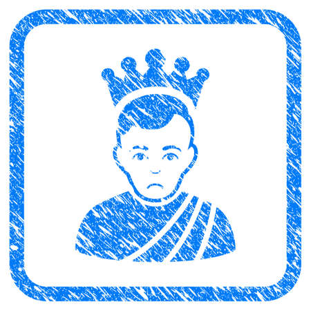 Emperor rubber seal stamp imitation. Icon vector symbol with grunge design and dust texture in rounded square. Scratched blue sign on a white background.