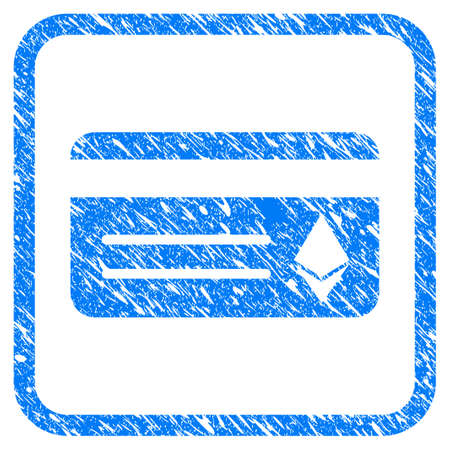 Ethereum Banking Card rubber seal stamp imitation. Icon vector symbol with grunge design and dirty texture inside rounded squared frame. Scratched blue emblem on a white background. Stock Illustratie