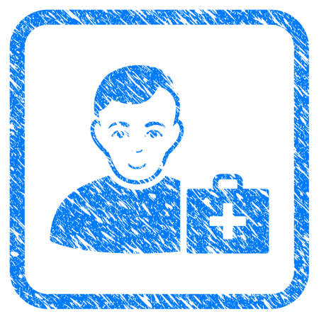 First-Aid Man rubber seal stamp watermark. Icon vector symbol with grunge design and unclean texture inside rounded squared frame. Scratched blue sticker on a white background. Illustration