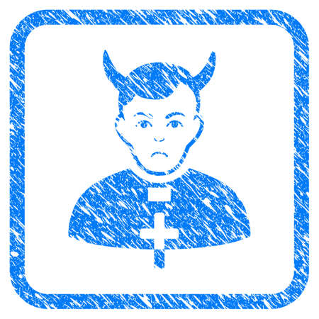 Devil Priest rubber seal stamp imitation. Icon vector symbol with grunge design and corrosion texture in rounded rectangle. Scratched blue sticker on a white background.