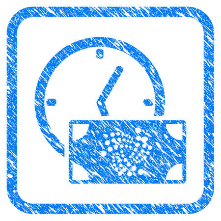 Iota Banknote Credit Time rubber seal stamp watermark. Icon vector symbol with grunge design and unclean texture in rounded square. Scratched blue stamp imitation on a white background. Vectores