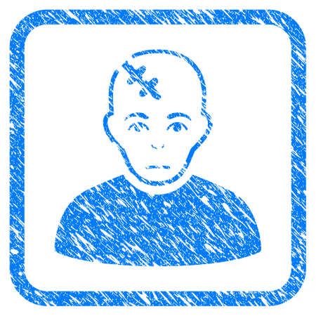 Head Hurt rubber seal stamp imitation. Icon vector symbol with grunge design and corrosion texture in rounded square. Scratched blue sticker on a white background. Stock Illustratie
