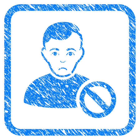 Forbidden User rubber seal stamp imitation. Icon vector symbol with grunge design and dirty texture in rounded squared frame. Scratched blue stamp imitation on a white background.