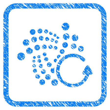 Iota Chargeback rubber seal stamp watermark. Icon vector symbol with grunge design and corrosion texture in rounded squared frame. Scratched blue emblem on a white background.