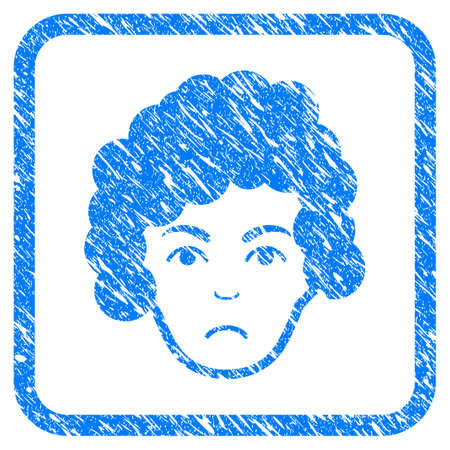 Hairstyle Head rubber seal stamp imitation. Icon vector symbol with grunge design and dirty texture in rounded square frame. Scratched blue sign on a white background.