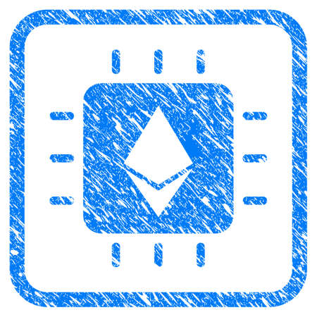 Ethereum Crystal Chip rubber seal stamp watermark. Icon vector symbol with grunge design and dust texture inside rounded squared frame. Scratched blue stamp imitation on a white background.