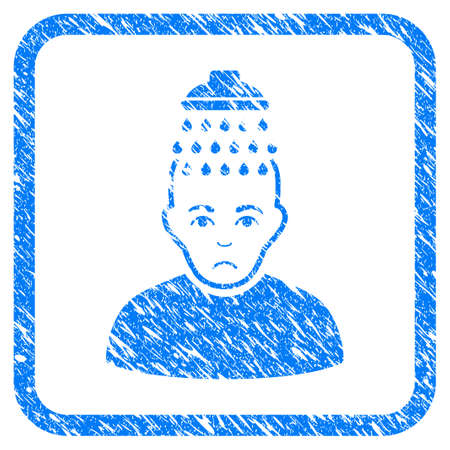 Head Shower rubber seal stamp imitation. Icon vector symbol with grunge design and dust texture inside rounded rectangle. Scratched blue sign on a white background. Vectores