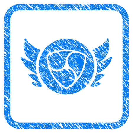 Nem Angel Investment rubber seal stamp watermark. Icon vector symbol with grunge design and corrosion texture in rounded square frame. Scratched blue stamp imitation on a white background.