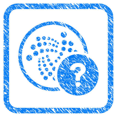 Iota State Query rubber seal stamp watermark. Icon vector symbol with grunge design and dirty texture inside rounded square. Scratched blue sticker on a white background. Illustration