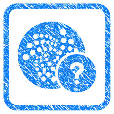 Iota State rubber seal stamp watermark. Icon vector symbol with grunge design and unclean texture inside rounded square frame. Scratched blue stamp imitation on a white background. Illustration