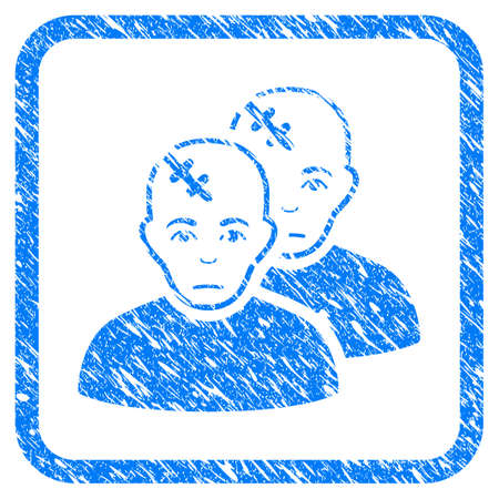 Patients rubber seal stamp watermark. Icon vector symbol with grunge design and dirty texture inside rounded rectangle. Scratched blue stamp imitation on a white background.