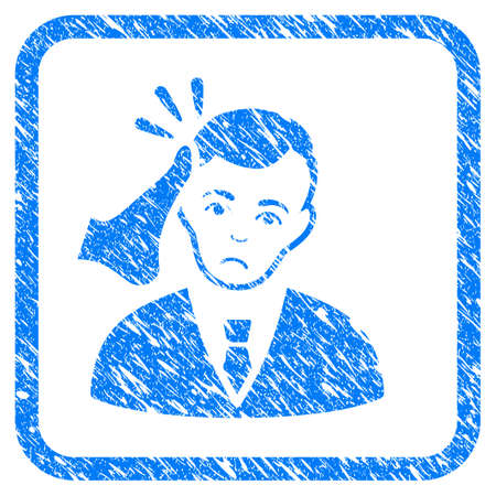 Kickboxer Victim rubber seal stamp imitation. Icon vector symbol with grunge design and dirty texture inside rounded square frame. Scratched blue sign on a white background. Illustration