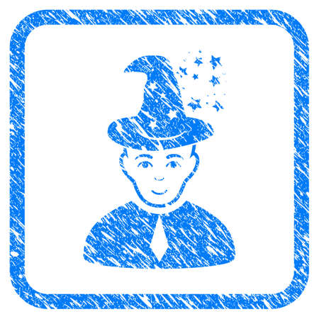 Magic Master rubber seal stamp imitation. Icon vector symbol with grunge design and corrosion texture inside rounded squared frame. Scratched blue sticker on a white background. Illustration
