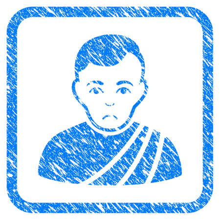 Patrician Citizen rubber seal stamp imitation. Icon vector symbol with grunge design and unclean texture in rounded rectangle. Scratched blue stamp imitation on a white background. Illustration