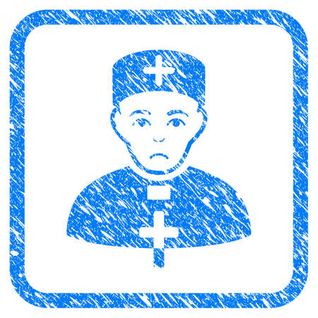 Priest Doctor rubber seal stamp imitation. Icon vector symbol with grunge design and corrosion texture in rounded frame. Scratched blue sign on a white background.