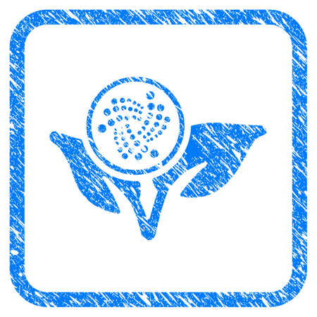 Iota Startup Sprout rubber seal stamp watermark. Icon vector symbol with grunge design and dirty texture inside rounded rectangle. Scratched blue stamp imitation on a white background.