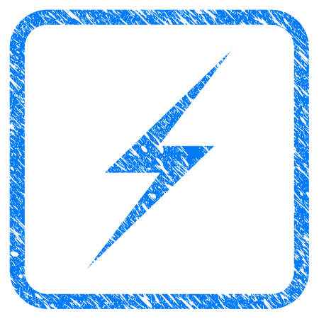 Lightning rubber seal stamp watermark. Icon vector symbol with grunge design and unclean texture inside rounded square frame. Scratched blue emblem on a white background.