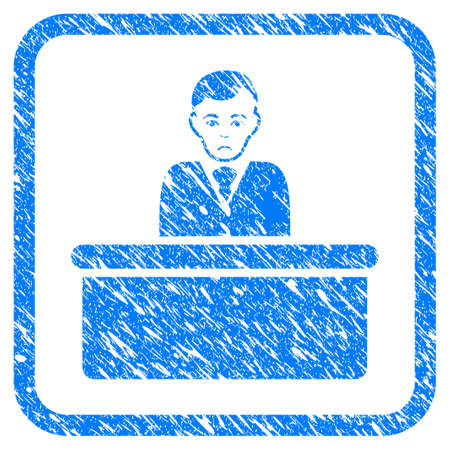 Office Clerk rubber seal stamp imitation. Icon vector symbol with grunge design and unclean texture in rounded squared frame. Scratched blue stamp imitation on a white background.