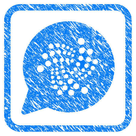 Iota Message Cloud rubber seal stamp imitation. Icon vector symbol with grunge design and dust texture inside rounded square frame. Scratched blue stamp imitation on a white background. Illustration