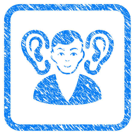 Listener rubber seal stamp watermark. Icon vector symbol with grunge design and corrosion texture inside rounded rectangle. Scratched blue stamp imitation on a white background.