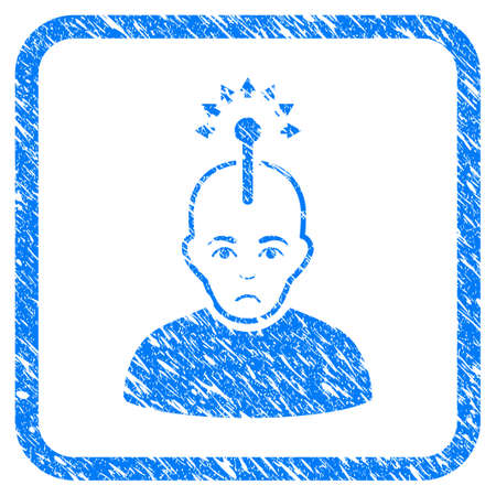 Optical Neural Interface rubber seal stamp watermark. Icon vector symbol with grunge design and unclean texture inside rounded square frame. Scratched blue emblem on a white background.