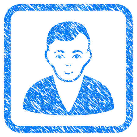 Man rubber seal stamp watermark. Icon vector symbol with grunge design and dust texture in rounded rectangle. Scratched blue stamp imitation on a white background. Ilustração