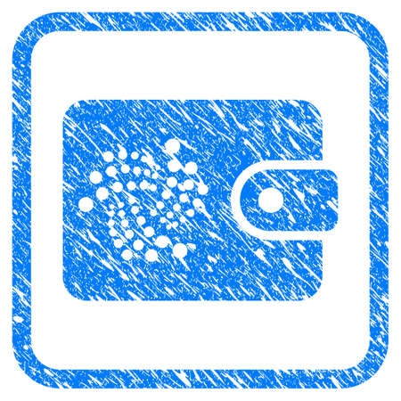 Iota Purse rubber seal stamp imitation. Icon vector symbol with grunge design and dirty texture inside rounded square. Scratched blue emblem on a white background.