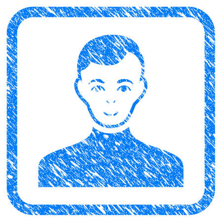 Male rubber seal stamp watermark. Icon vector symbol with grunge design and dust texture in rounded rectangle. Scratched blue stamp imitation on a white background. Illustration