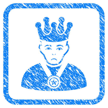 Overlord Boss rubber seal stamp watermark. Icon vector symbol with grunge design and unclean texture inside rounded frame. Scratched blue emblem on a white background. Illustration