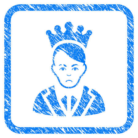 Prince rubber seal stamp watermark. Icon vector symbol with grunge design and corrosion texture inside rounded rectangle. Scratched blue emblem on a white background.