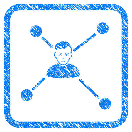 Man Links rubber seal stamp imitation. Icon vector symbol with grunge design and unclean texture inside rounded square. Scratched blue sign on a white background.