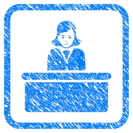 Official Lady rubber seal stamp imitation. Icon vector symbol with grunge design and dust texture inside rounded squared frame. Scratched blue stamp imitation on a white background. Stockfoto - 95963097