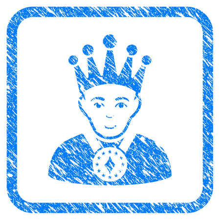 King rubber seal stamp imitation. Icon vector symbol with grunge design and unclean texture in rounded squared frame. Scratched blue stamp imitation on a white background. Illustration