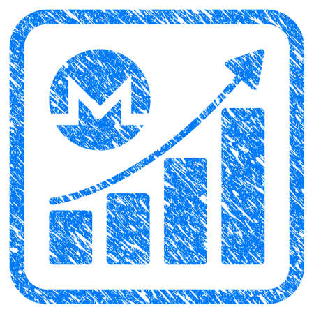 Monero Growing Graph Trend rubber seal stamp watermark. Icon vector symbol with grunge design and unclean texture in rounded square. Scratched blue sticker on a white background. Ilustração