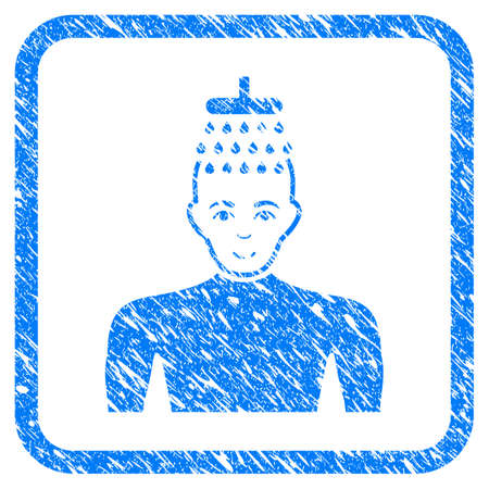 Man Shower rubber seal stamp watermark. Icon vector symbol with grunge design and dust texture in rounded frame. Scratched blue sign on a white background.