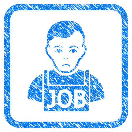 Jobless rubber seal stamp watermark. Icon vector symbol with grunge design and dust texture in rounded squared frame. Scratched blue stamp imitation on a white background.
