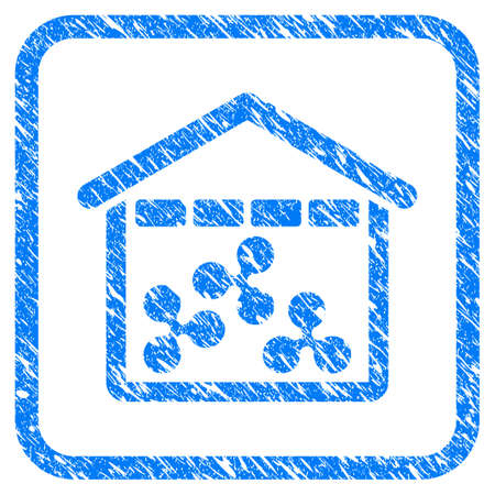 Ripple Depository rubber seal stamp imitation. Icon vector symbol with grunge design and dust texture in rounded squared frame. Scratched blue emblem on a white background. Ilustração