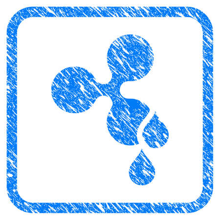 Ripple Blood Drops rubber seal stamp watermark. Icon vector symbol with grunge design and dust texture inside rounded square frame. Scratched blue sticker on a white background. Illustration
