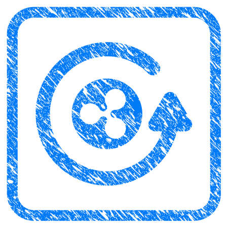 Ripple Coin Refund rubber seal stamp imitation. Icon vector symbol with grunge design and unclean texture in rounded square frame. Scratched blue stamp imitation on a white background. Иллюстрация